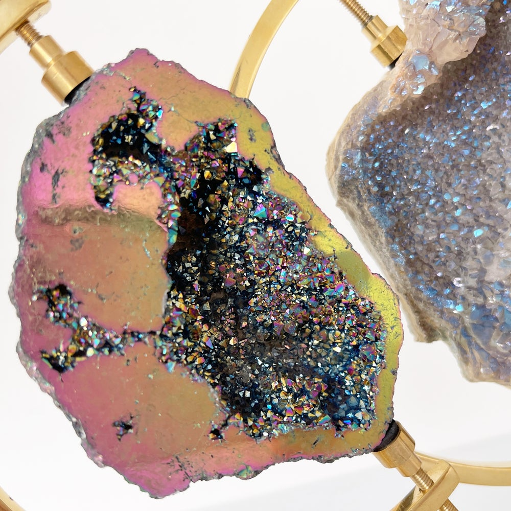 Image of Titanium Coated Calcite no.165 + Brass Arc Stand