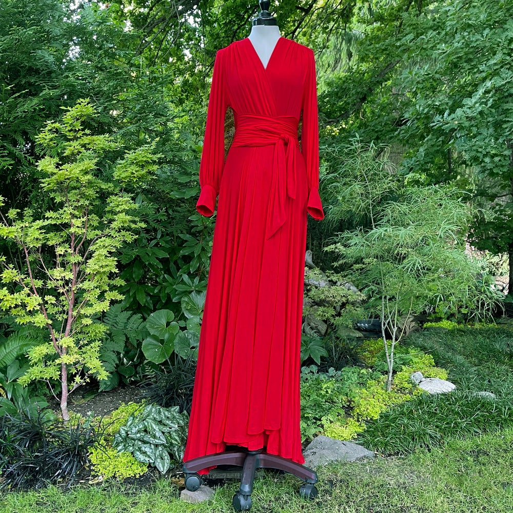 """Image of Bright Red """"Bev"""" Dressing Gown"""