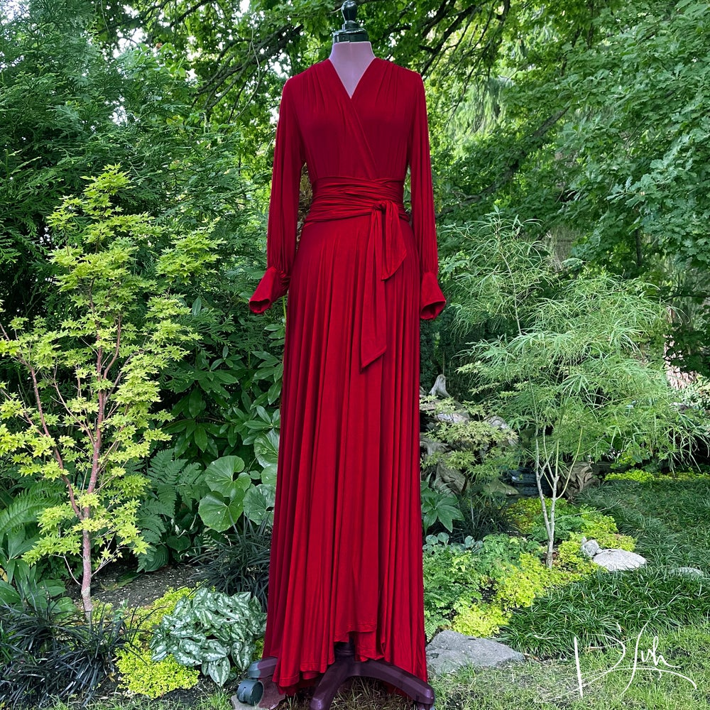"""Image of Deep Red """"Bev"""" Dressing Gown"""