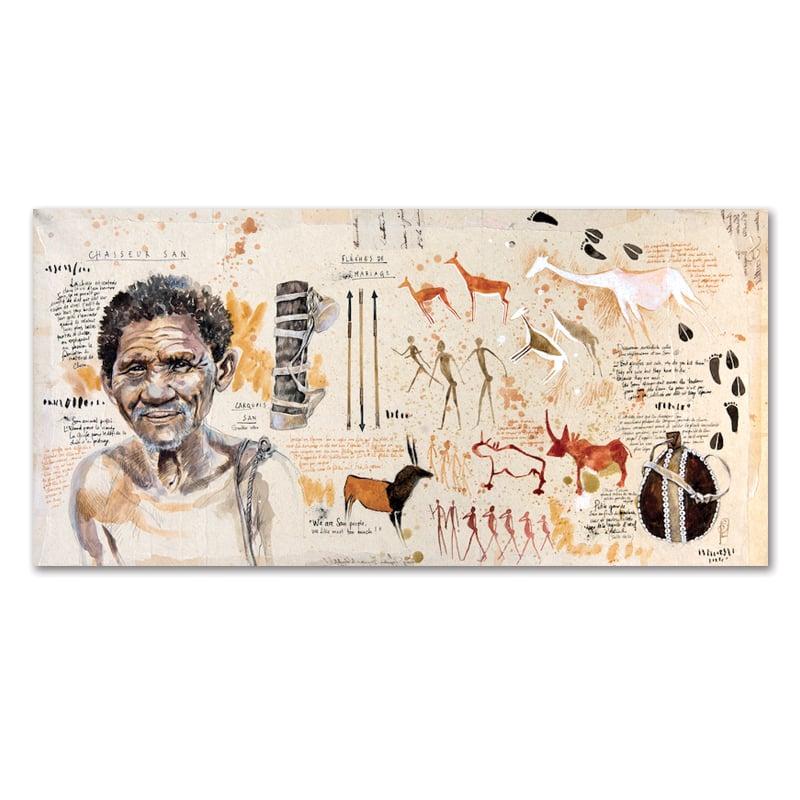 """Image of Original painting - """"Parole de chasseur San"""" - 40 x 80 cm"""