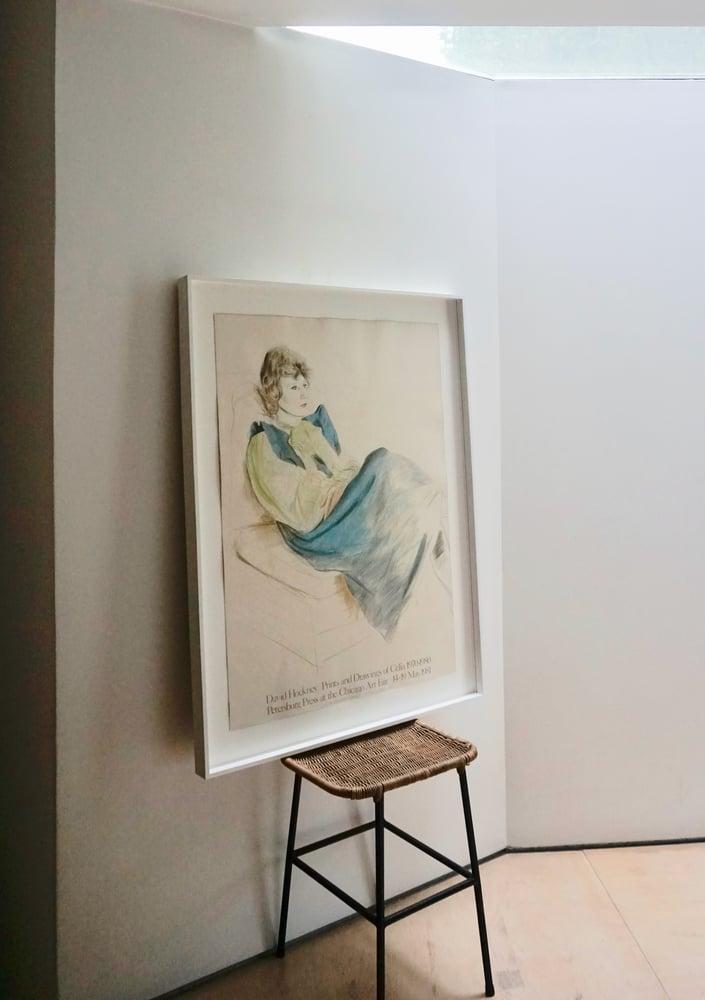 Image of after david hockney / celia in a blue dress / 26/002