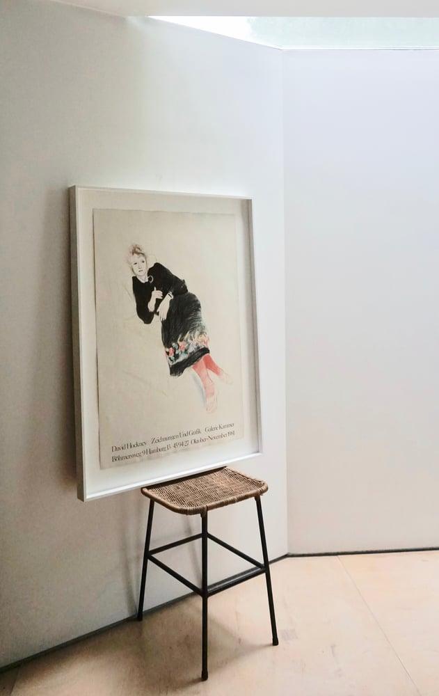 Image of after david hockney / celia in a black dress / 26/005