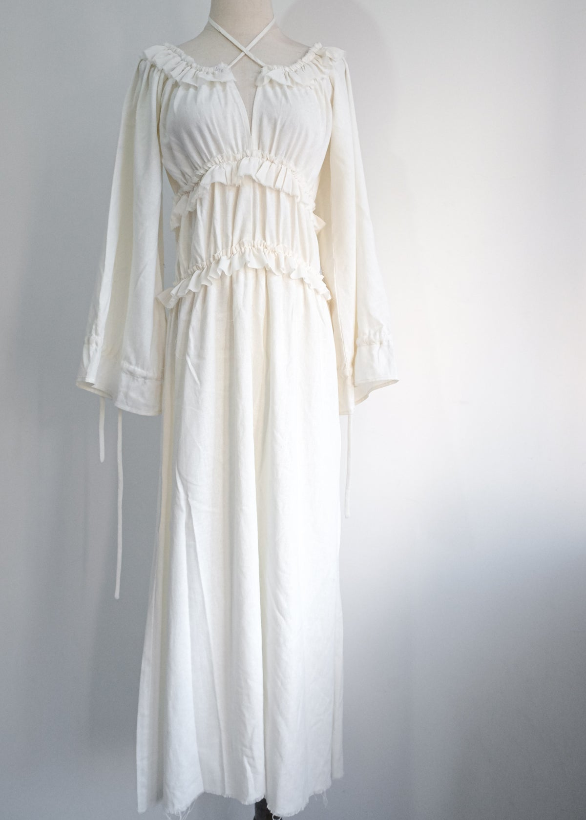 Image of  SAMPLE SALE - Mona Lace Up Long Dress in Ivory Linen