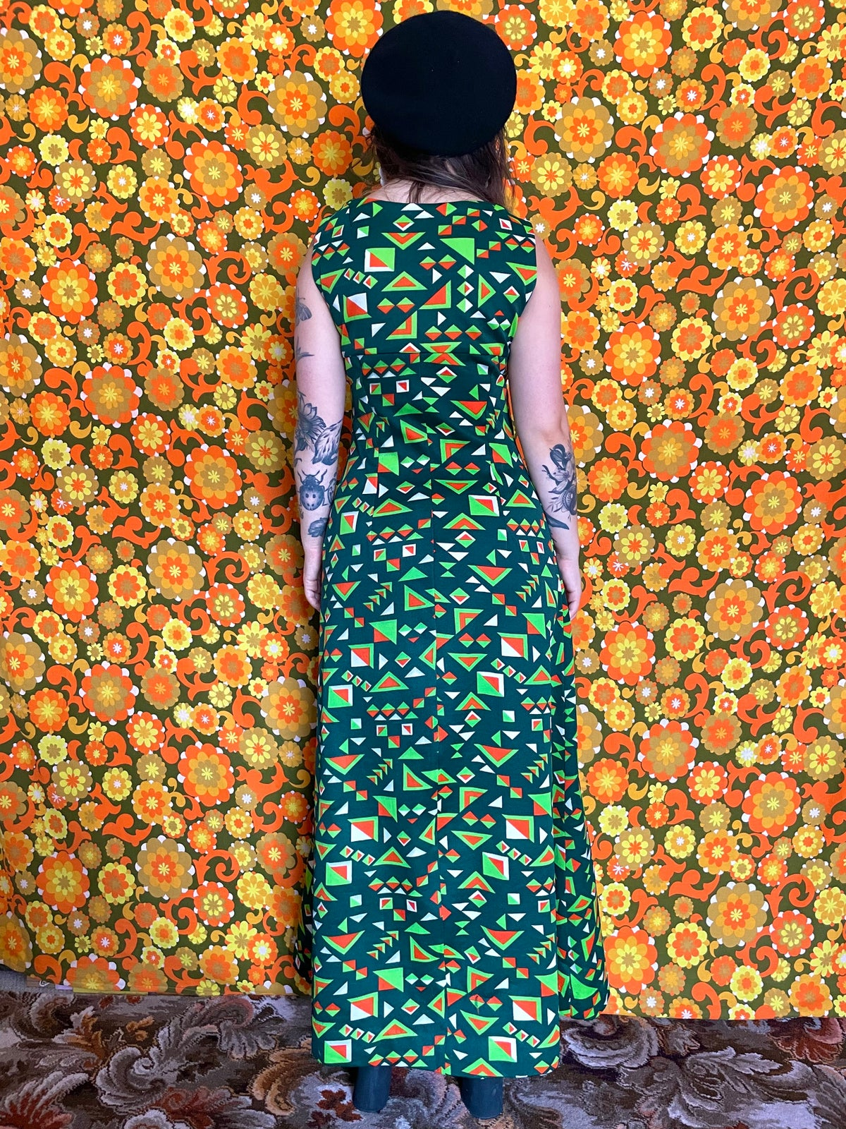 Image of Vintage 70s Green Abstract Print Maxi Dress