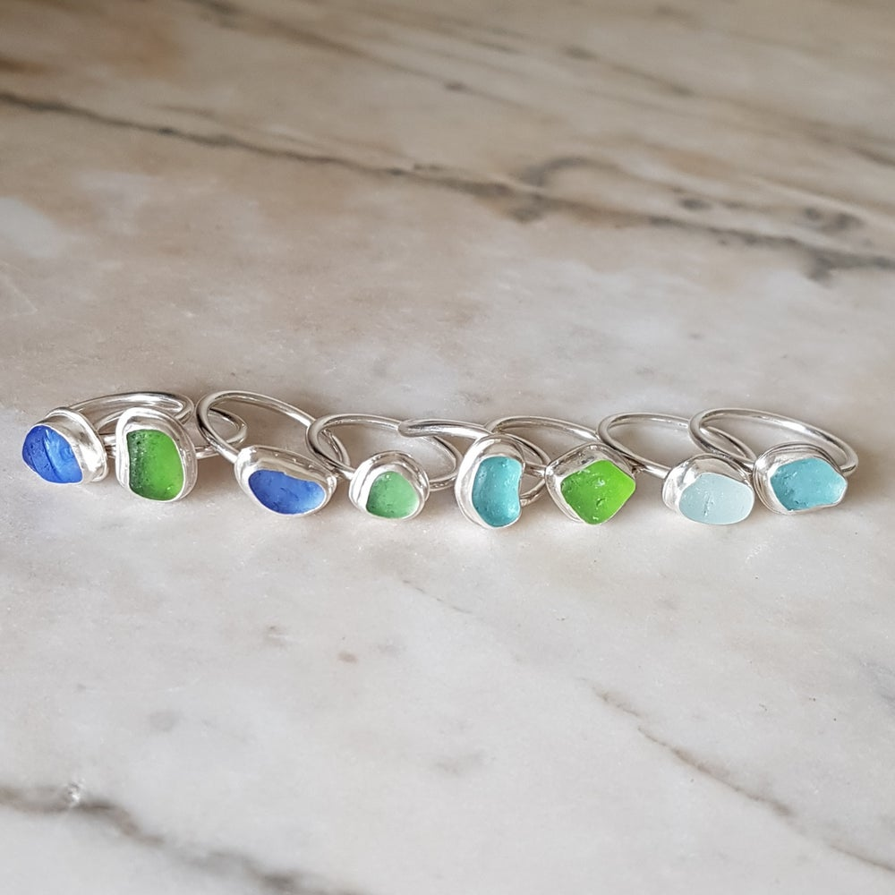 Image of West Coast Sea Glass Stacking Rings