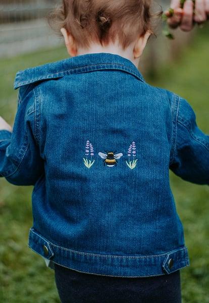 Image of Lavender Bumblebee Organic Embroidered Baby Denim Jacket