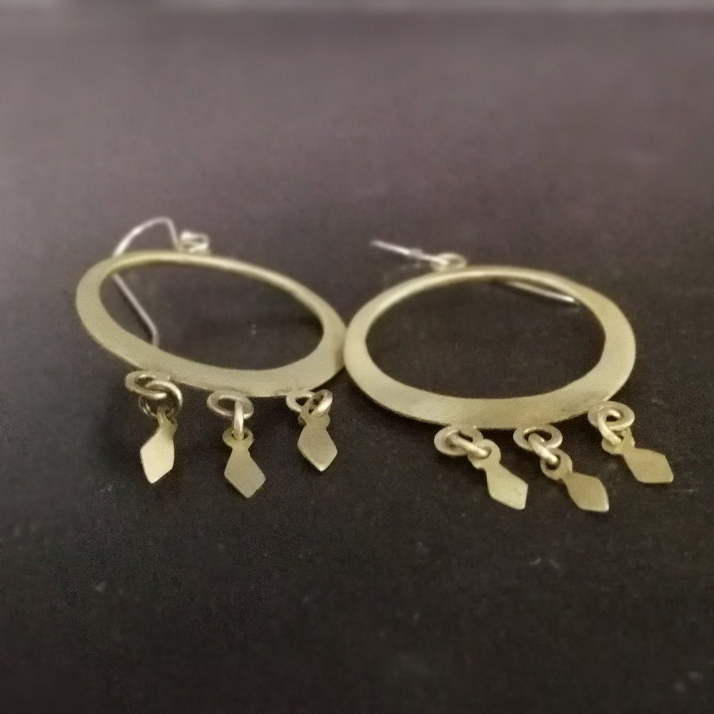 Image of Brass diamond hoops