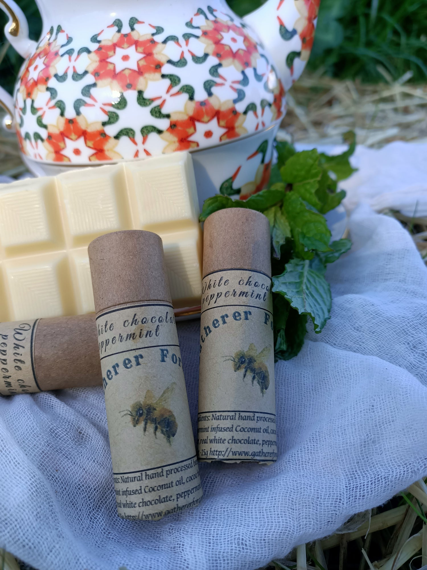 White chocolate and peppermint beeswax lip balm