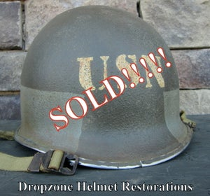 Image of WWII M1 USN (U.S. Navy) Helmet Fixed bale Front Seam D-Day Normandy