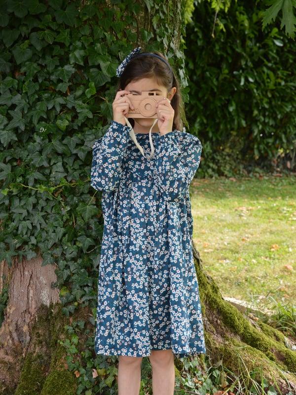 Image of robe en liberty betsy bleu col claudine