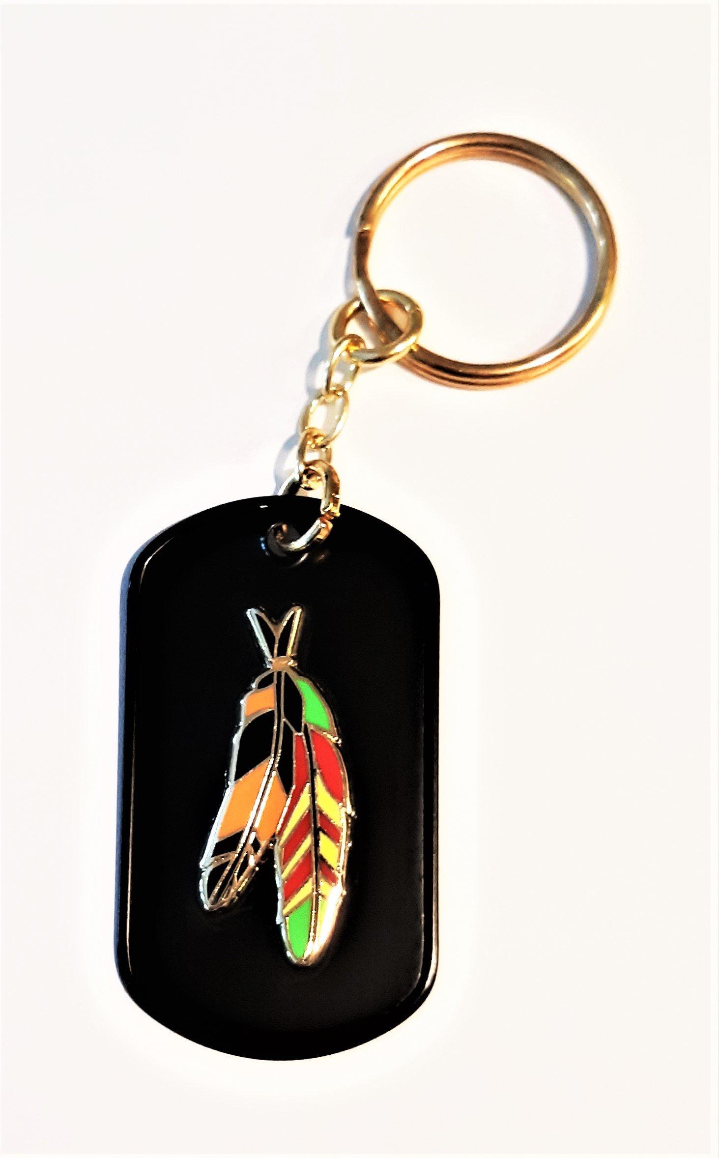 Image of Vietnam Veteran  Agent Orange Warrior Feathers Black Dog Tag Key Ring