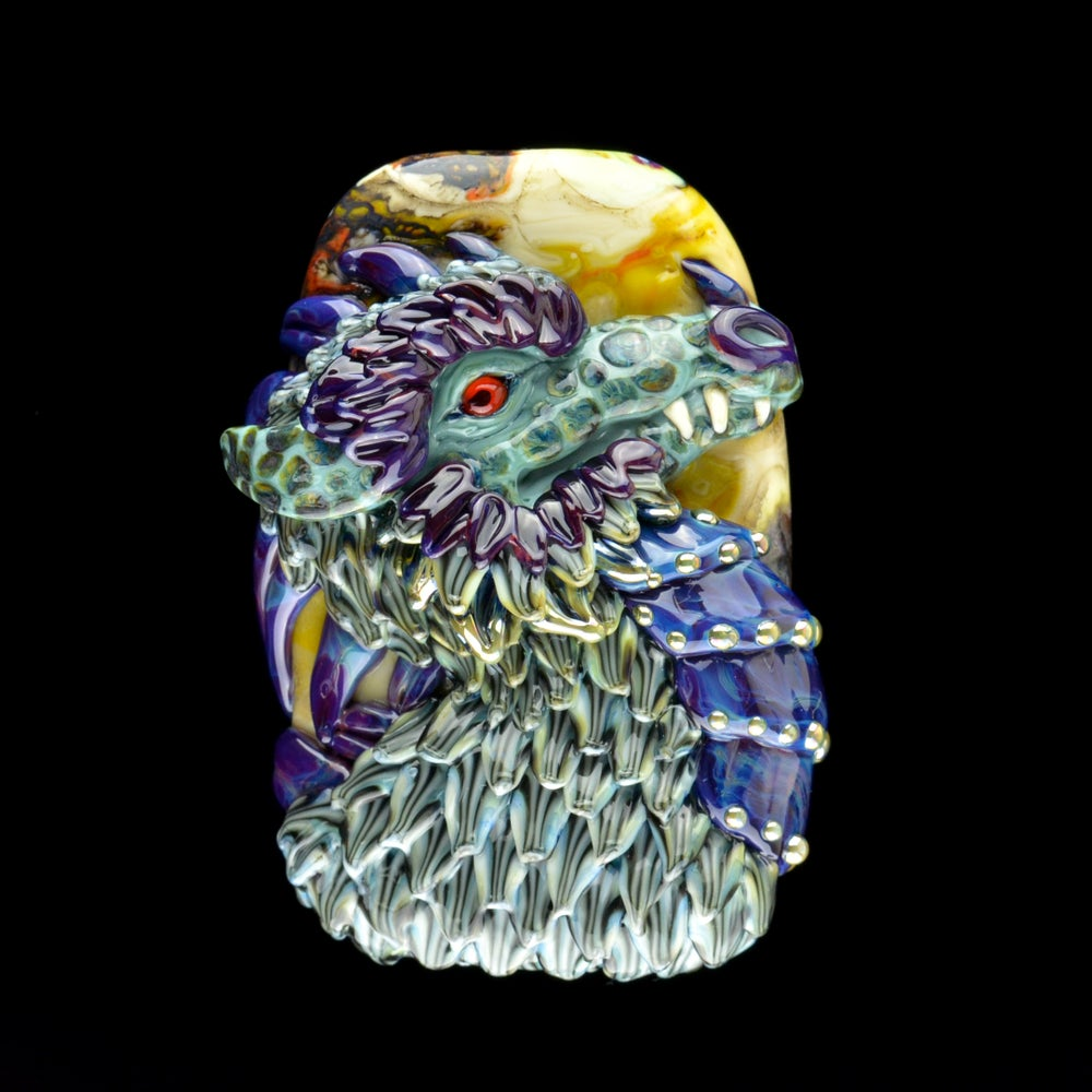 Image of XXXL Purple & Green Dragon - Handmade Lampwork Glass Sculpture Bead