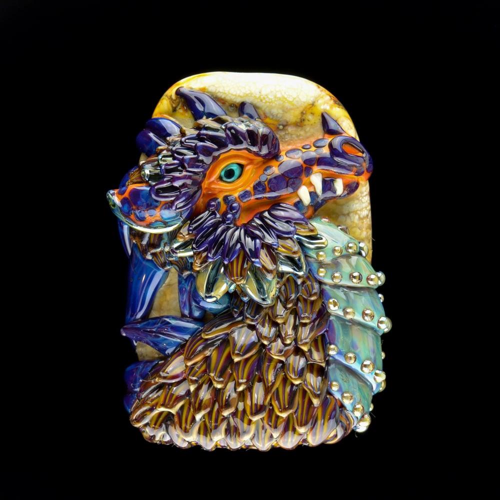 Image of XXXL. Sunset Dragon - Handmade Lampwork Glass Sculpture Bead