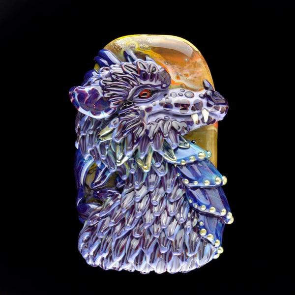 Image of XXXL. Purple People Eater Dragon - Handmade Lampwork Glass Sculpture Bead