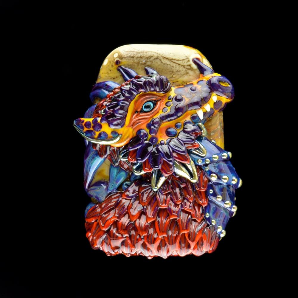 Image of XXXL. Snarky Red Orange Dragon - Flamework Glass Sculpture Bead