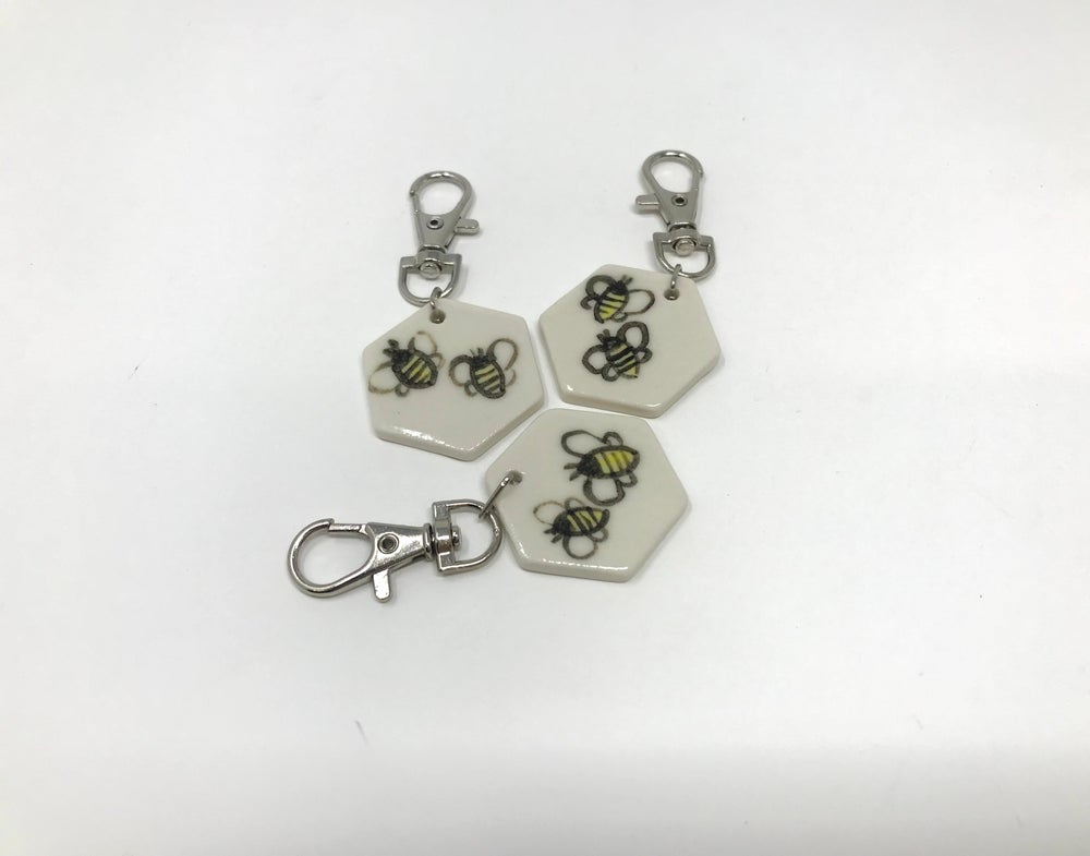 Image of Bee decorated KeyRing/Bag Tag
