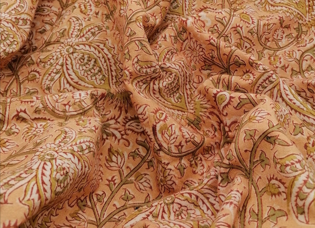 Image of Namasté fabric kalamkari bio orangé