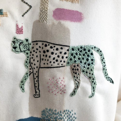 Image of The Cheetah Spirit - hand embroidered and hand painted organic cotton sweatshirt, one of a kind