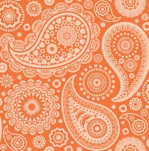 Image of Paisley Crescent Wallpaper - Tangerine Dream