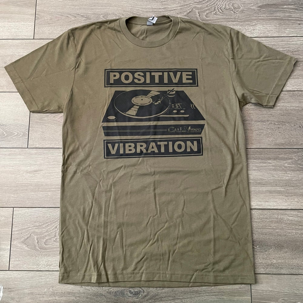 Image of Positive Vibration Record Player Military Green Shirt