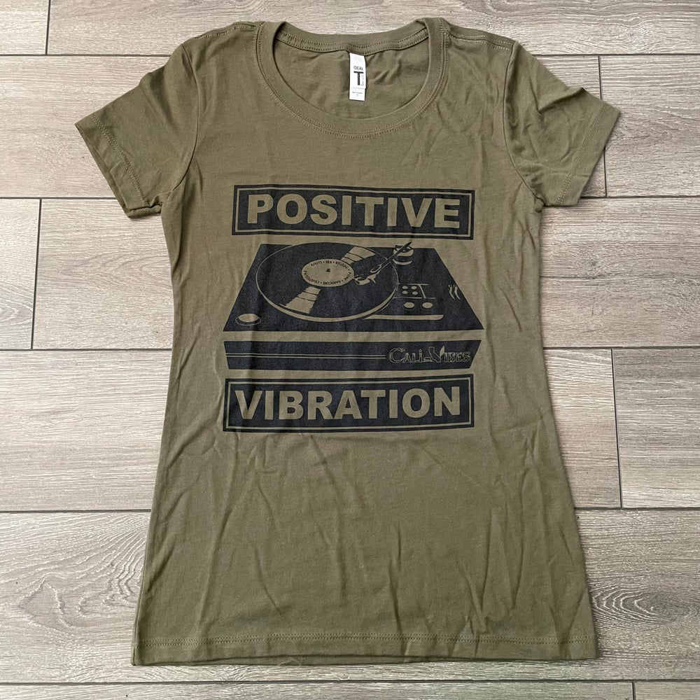 Image of Positive Vibration Turntable Women's Shirt Military Green