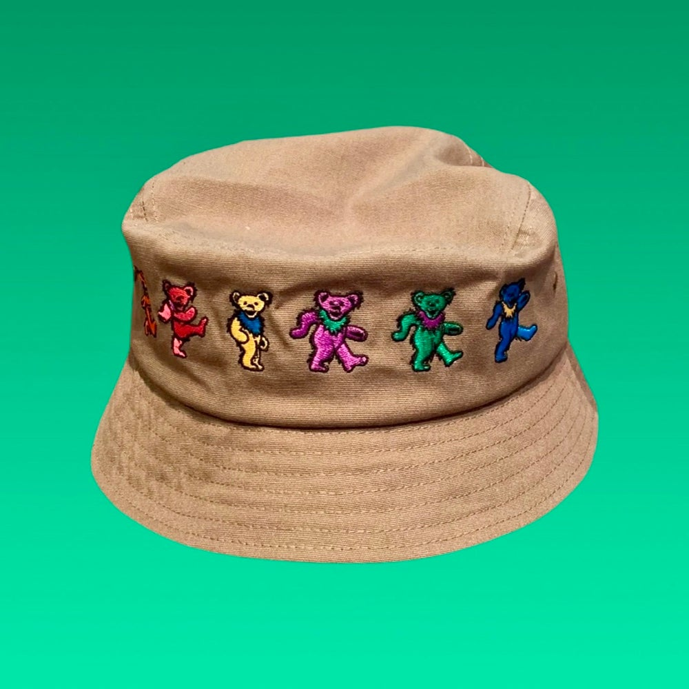 Image of Bear Embroidered Full Wrap around 100% Natural Hemp Bucket Hat!