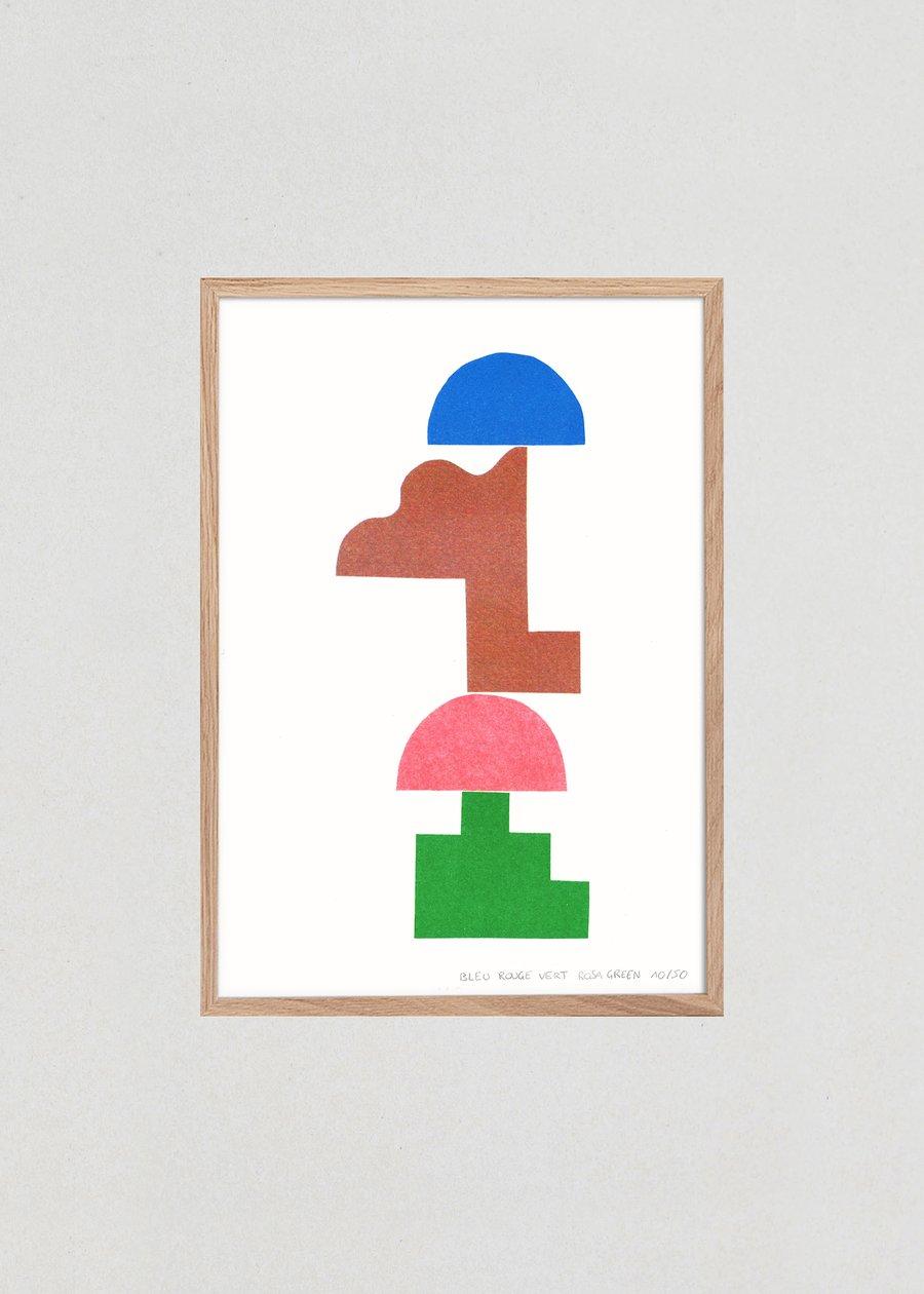 """Image of Illustration """"BLEU ROUGE VERT"""", A4"""