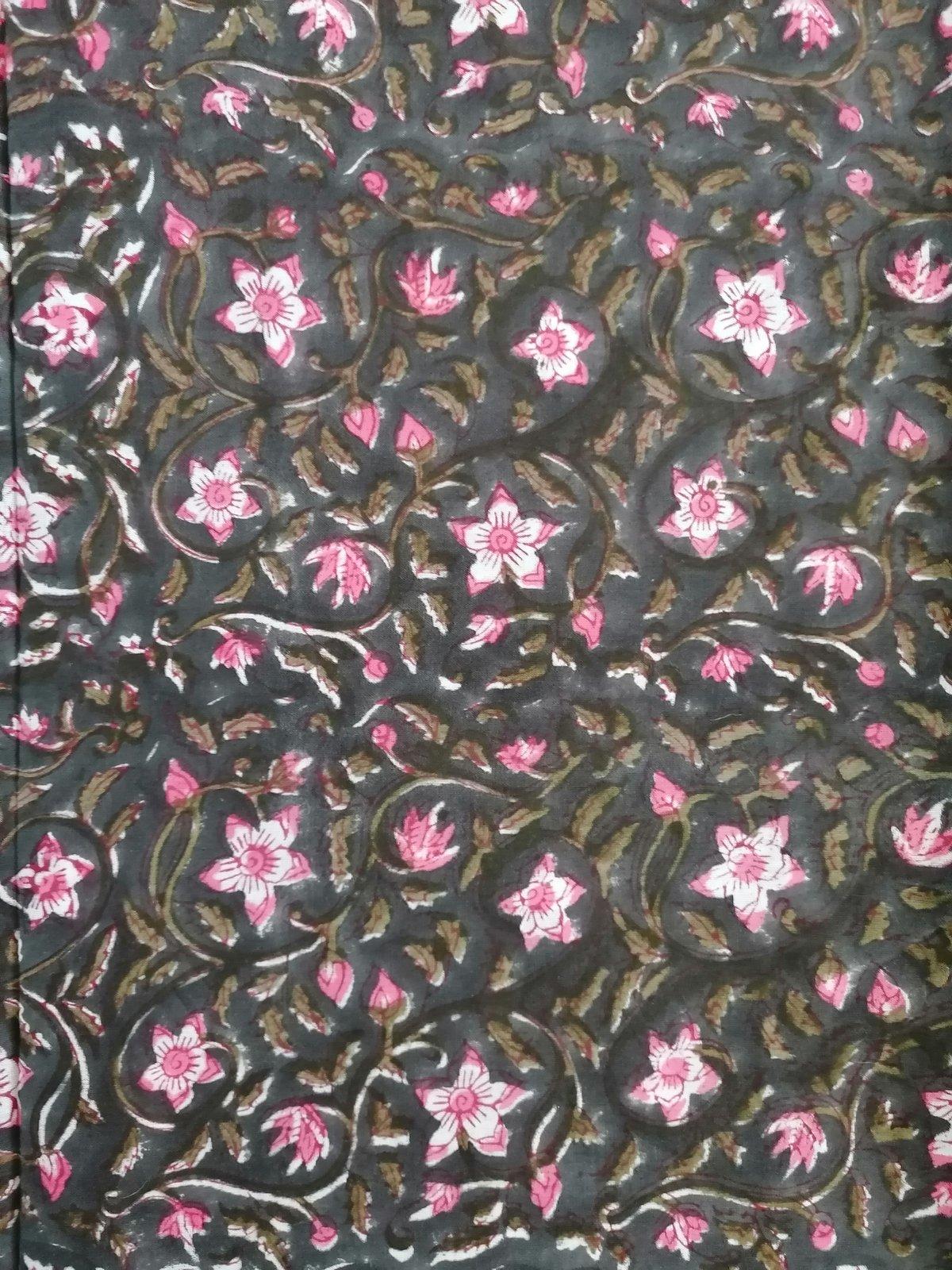 Image of Namasté fabric rose et noir