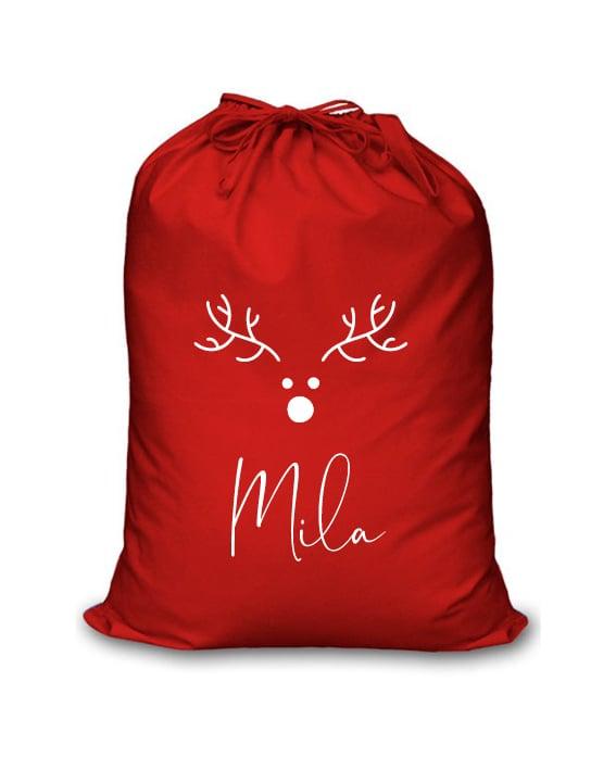 Image of Personalised Christmas Santa Sack - Minimalist Reindeer