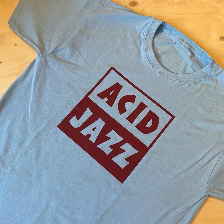 Image of Acid Jazz Logo T-shirt (Blue and Claret)