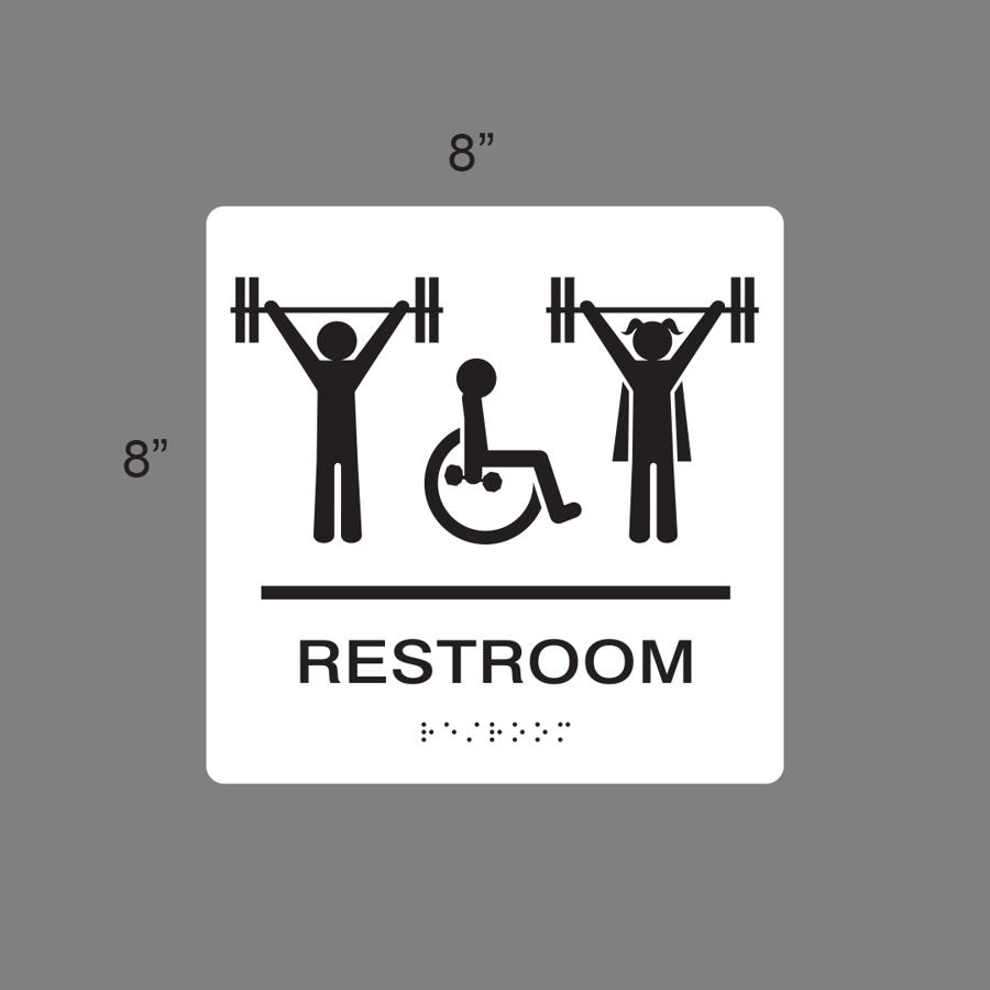 Image of Restroom Wheelchair unisex braille signage