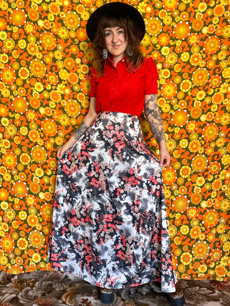 Image of Vintage 70s Red White and Black Maxi Skirt