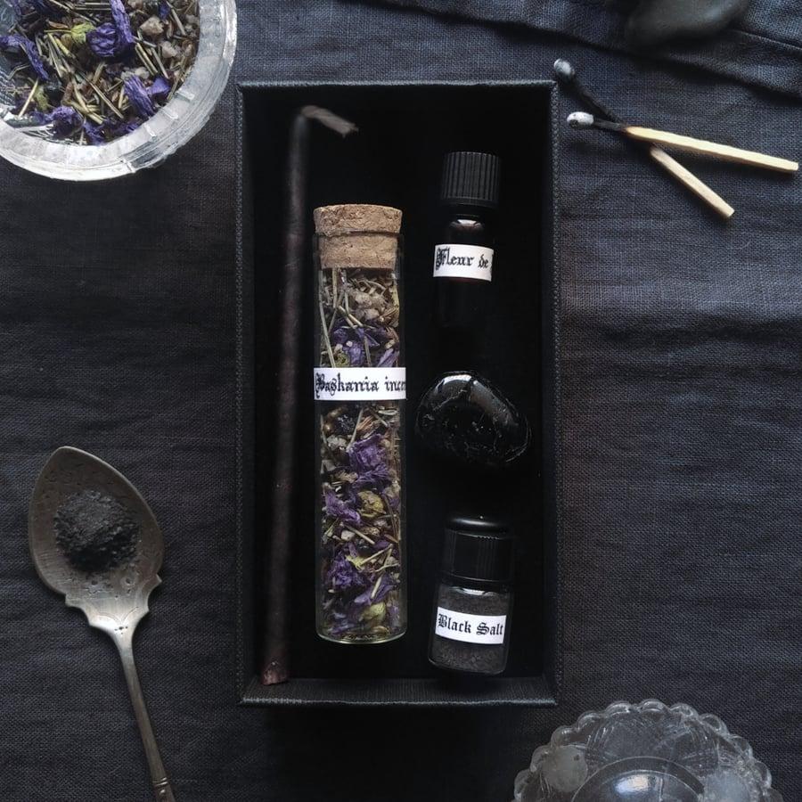 Image of BASKANIA. AVOID EVIL-EYE BOX ↟ Incense, candle, black salt, tourmaline - stops jealous & envious
