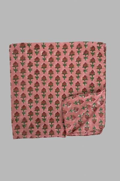 Image of Block Print Bandana - Pink Poppy