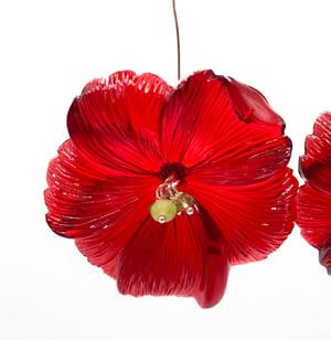 large red lucite flower earrings