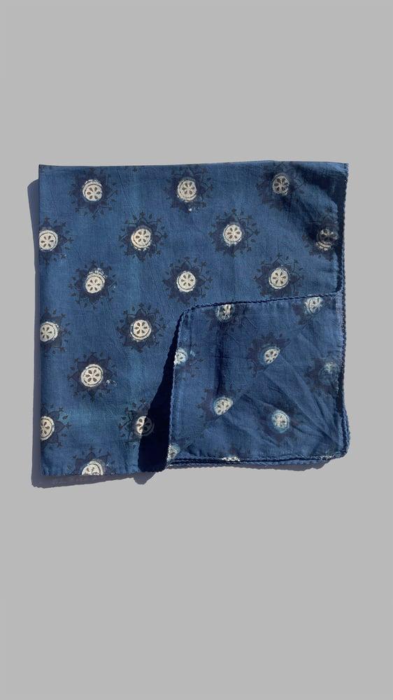 Image of Block Print Bandana - Indigo sunburst