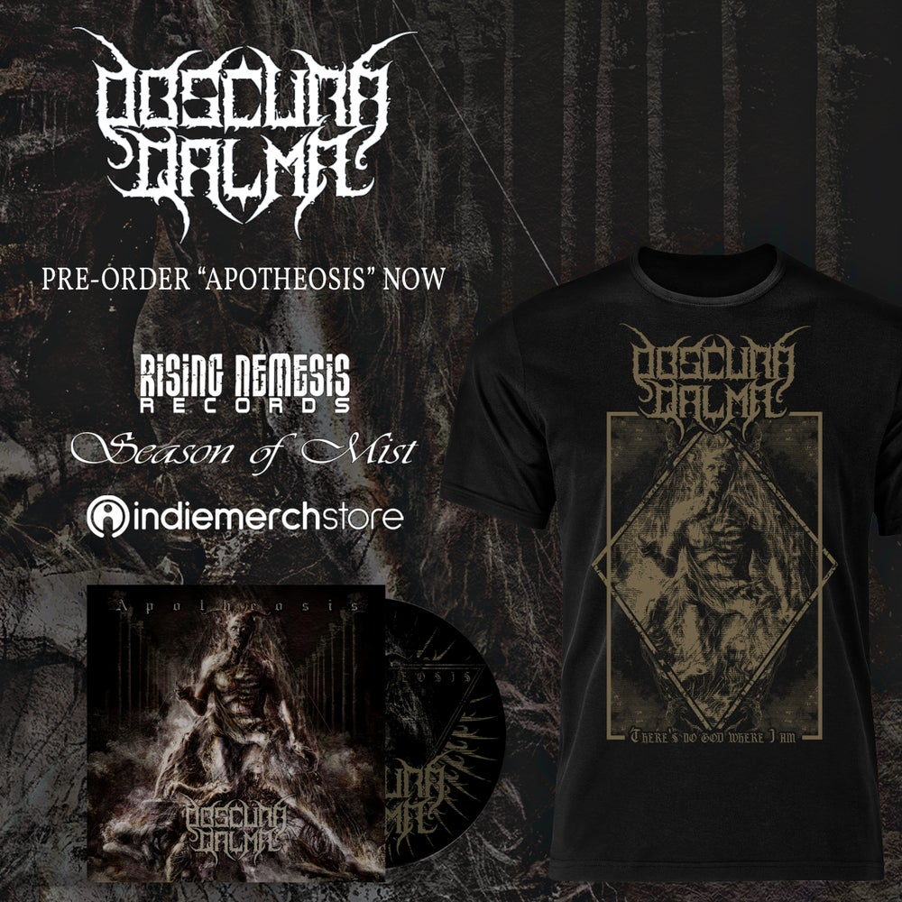 Image of OBSCURA QALMA - Aoptheosis CD / There Is No God Where I Am T-Shirt [pre-order]