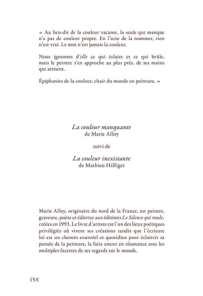 """Image of """"La couleur manquante"""" de Marie Alloy"""