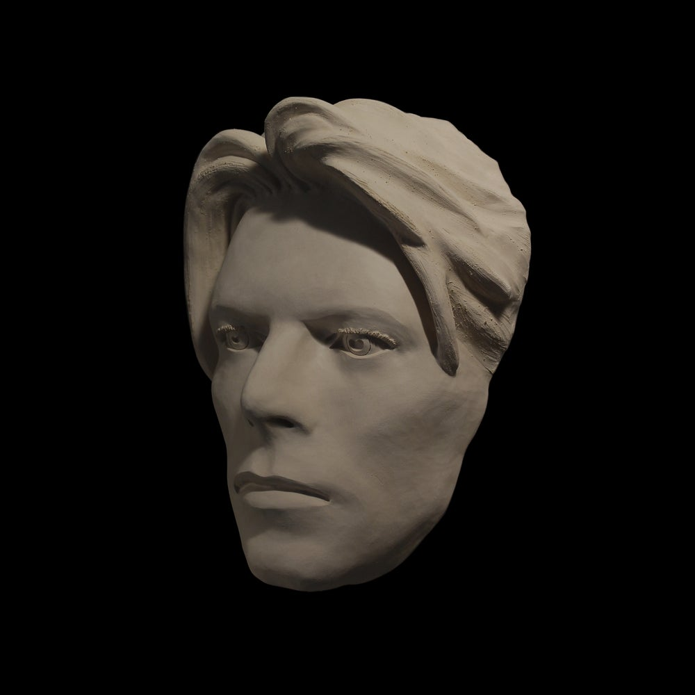 'The Man Who Fell To Earth' White Clay Face Sculpture