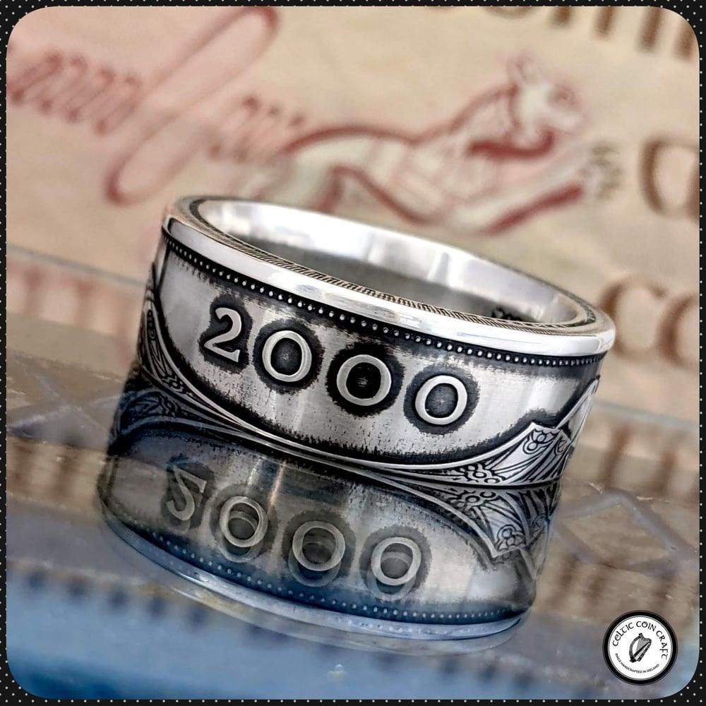 Irish Millennium Silver Punt Coin Ring