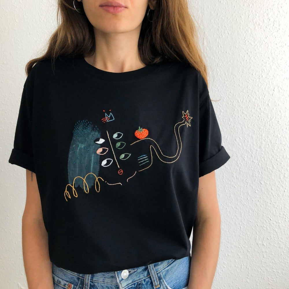 Image of Doodle - 6 eyed kettle - intuitive hand embroidery and painting on organic cotton, one of a kind