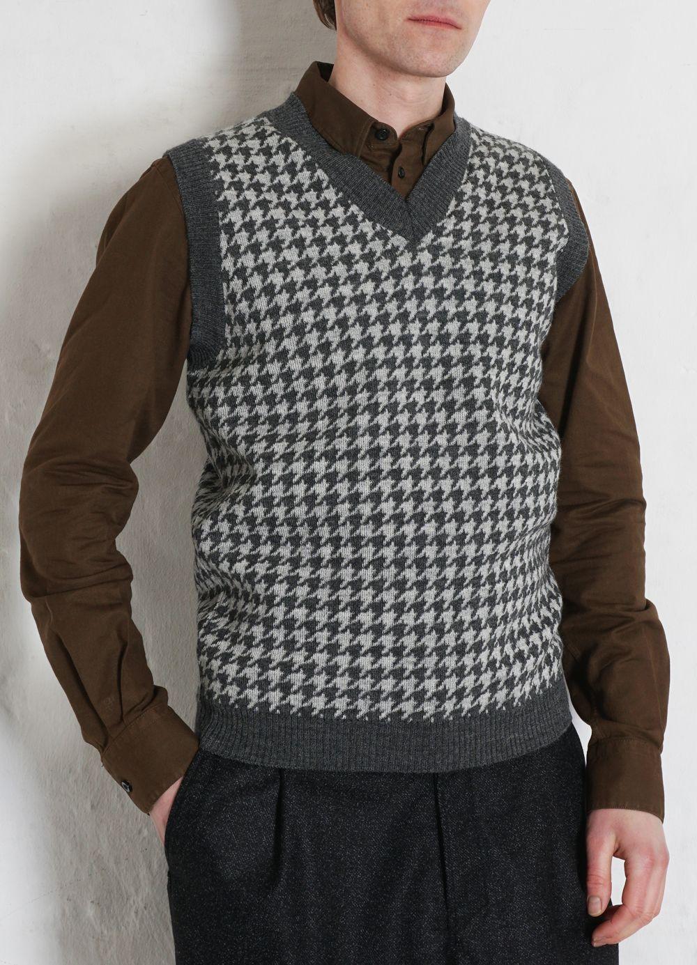 Hansen Garments TIM   Hounds Tooth Vest   grey hound