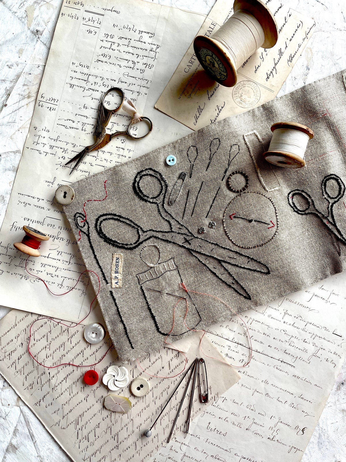 Image of 'A hand stitched linen sketch book' Pre-order only