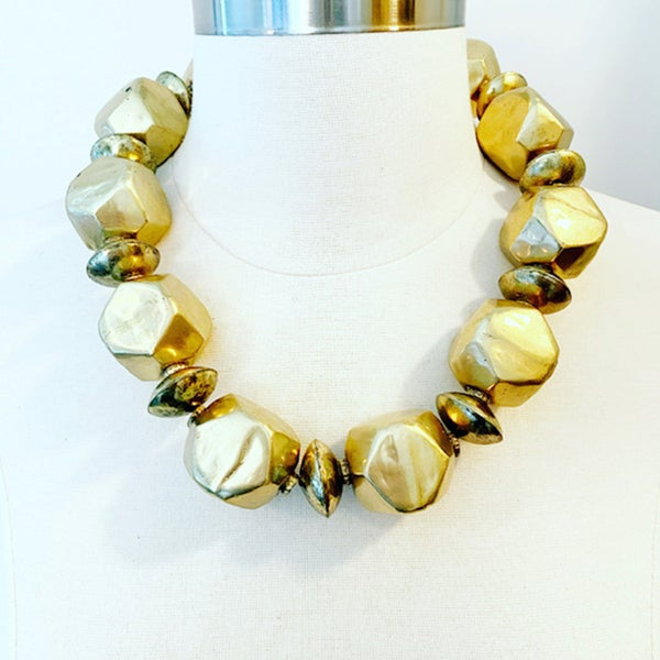 Image of Large Brass Statement Necklace