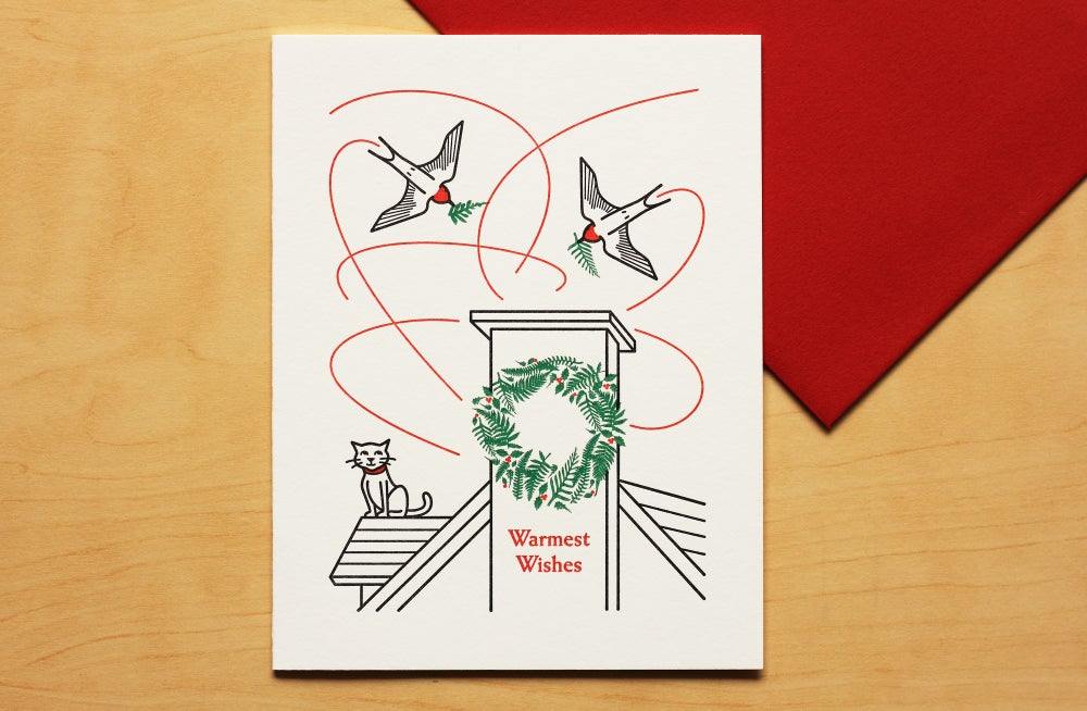 Image of CAT WATCHING SWALLOWS Holiday Card