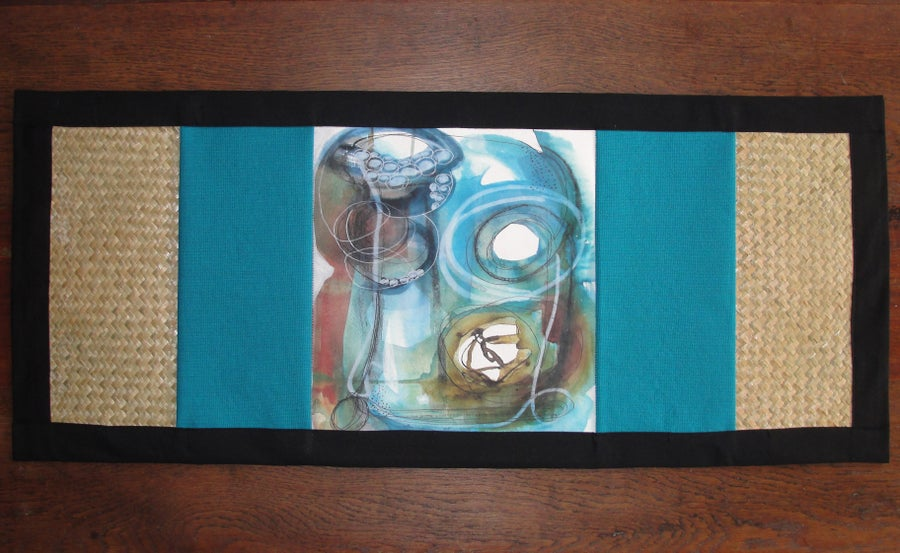 Image of Turquoise 'Colliding' table runner