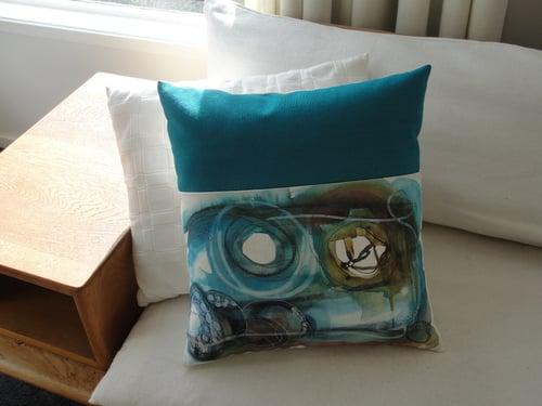 Image of Turquoise 'Colliding' cushion