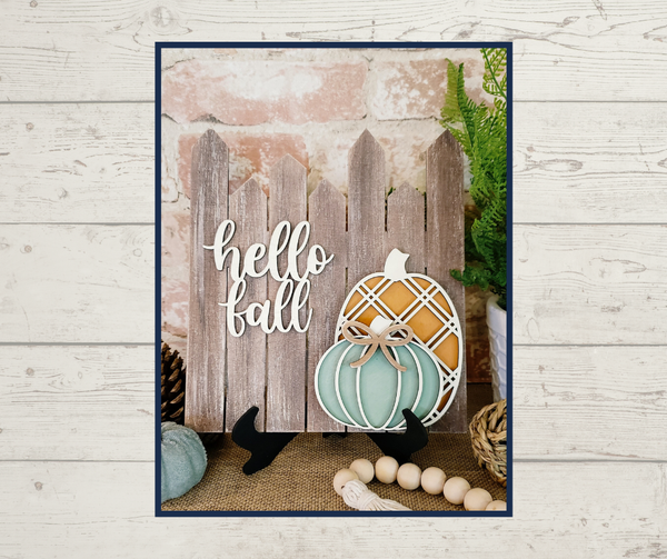 Image of Hello Fall Fence with Pumpkins