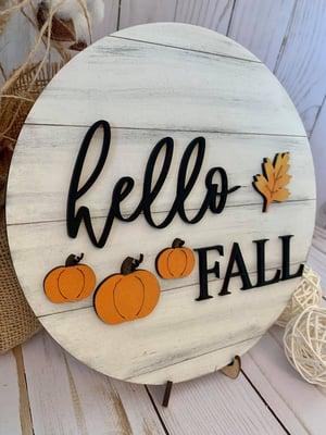 Image of Hello Fall Shiplap Round