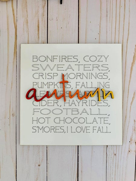 Image of Autumn Table Top Sign with Stand